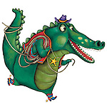 Illustration of crocodile dressed as cowboy over white background