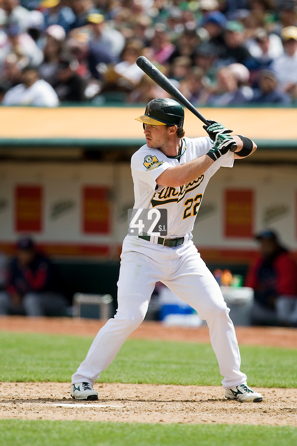6 April 2008: A's outfielder #22 Jack Hannahan is seen at bat during the Cleveland Indians 2-1 victory over the Oakland Athletics at the McAfee Coliseum in Oakland, CA.