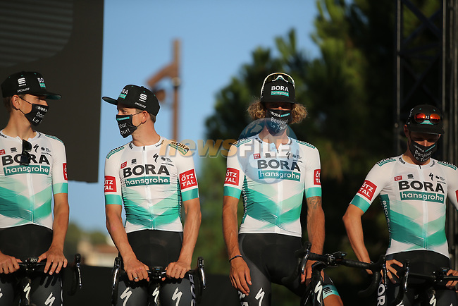 Bora-Hansgrohe on stage at the team presentation before the Tour de France 2020, Nice, France. 27th August 2020.<br /> Picture: ASO/Thomas Maheux | Cyclefile<br /> All photos usage must carry mandatory copyright credit (© Cyclefile | ASO/Thomas Maheux)