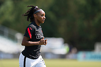 CARY, NC - SEPTEMBER 12: Crystal  Dunn #19 of the Portland Thorns warms up before a game between Portland Thorns FC and North Carolina Courage at WakeMed Soccer Park on September 12, 2021 in Cary, North Carolina.