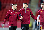 St Johnstone v Motherwell…..12.02.20   McDiarmid Park   SPFL<br />Tony Watt pictured on his return to McDiarmid Park warming up alongside Richard Tait<br />Picture by Graeme Hart.<br />Copyright Perthshire Picture Agency<br />Tel: 01738 623350  Mobile: 07990 594431