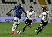 Romelu Lukaku of Inter  during the  italian serie a soccer match,Spezia Inter Milan at  the STadio Picco in La Spezia Italy ,
