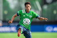 LAKE BUENA VISTA, FL - JULY 14: Shandon Hopeau #37 of the Seattle Sounders kicks the ball during a game between Seattle Sounders FC and Chicago Fire at Wide World of Sports on July 14, 2020 in Lake Buena Vista, Florida.