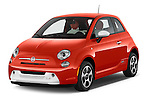 2014 Fiat 500e 3 Door Hatchback Angular Front stock photos of front three quarter view