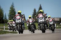 the pre-race moto brigade crossing the Passo Monte Croce Comelico / Kreuzbergpass (1636m) clearing the road ahead<br /> <br /> Stage 19: San Candido/Innichen › Piancavallo (191km)<br /> 100th Giro d'Italia 2017