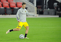 WASHINGTON, DC - OCTOBER 28: Pedro Santos #7 of Columbus Crew SC warming up during a game between Columbus Crew and D.C. United at Audi Field on October 28, 2020 in Washington, DC.