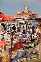 "Myanmar, Burma.  Local ""Five-Day"" Market, Inle Lake, Shan State."