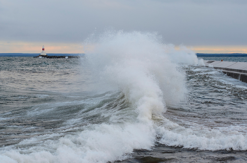 Waves colliding during a November gale at the Presque Isle breakwater in Marquette, MI.