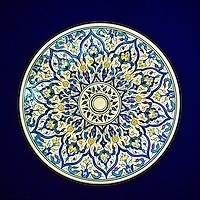 Ceramics, Nabeul, Tunisia.  Souvenir Ceramic Plate, Typical Modern Design.