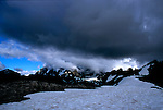 Mount Shuksan hides behind storm clouds over Artists Point in Mount Baker Snoqualmie National Forest