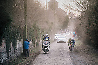 Philippe Gilbert (BEL/Quick Step floors) sits on the wheel of Damien Gaudin (FRA/Direct Energie) as his teammate Niki Terpstra (NED/Quick-Step Floors) just jumped away from them<br /> <br /> 50th GP Samyn 2018<br /> Quaregnon > Dour: 200km (BELGIUM)