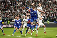 30th September 2021; Marshall Józef Piłsudski's Municipal Stadium, Warsaw, Poland: Europa League fooball, Legia Warsaw versus Leicester City; JAMIE VARDY and MATEUSZ WIETESKA