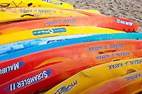 Ocean Kayaks on Beach at Paihia, north island, New Zealand.