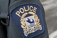 Laval Police badge is seen during a police memorial parade in Ottawa Sunday September 26, 2010.