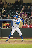 Casey Kotchman (34) of the Omaha Storm Chasers at bat against the Memphis Redbirds in Pacific Coast League action at Werner Park on April 24, 2015 in Papillion, Nebraska.  (Stephen Smith/Four Seam Images)