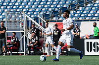 FOXBOROUGH, MA - JULY 25: USL League One (United Soccer League) match. Illal Osumanu #28 of Union Omaha looks to pass during a game between Union Omaha and New England Revolution II at Gillette Stadium on July 25, 2020 in Foxborough, Massachusetts.