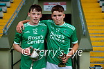 Ballyduff captain Anthony Kavanagh with the  the Sean Lovett cup and man of the match Kieran O'Carroll after Ballyduff won the Kerry County Minor Hurling final at Austin Stack Park on Saturday.