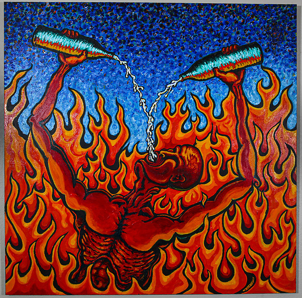 Going Down in Flames. Artist Jamie Scott Lytle. Acrylic on Board. 4' X 4'. 2001. Leucadia, CA. USA. C