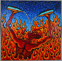 Going Down in Flames. Acrylic on Board. 4' X 4'. 2001.