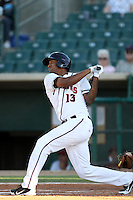 Domingo Santana #13 of the Lancaster JetHawks bats against the Modesto Nuts at Clear Channel Stadium on June 26, 2012 in Lancaster, California. Lancaster defeated Modesto 15-9. (Larry Goren/Four Seam Images)