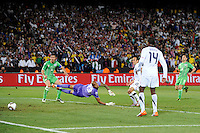 Landon Donovan of USA scores the winning goal. USA defeated Algeria 1-0 in stoppage time in the 2010 FIFA World Cup at Loftus Versfeld Stadium in Pretoria, Sourth Africa, on June 23th, 2010.