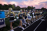 Fayetteville cheerleaders stand by, Friday, October 9, 2020 during a football game at Fayetteville High School in Fayetteville. Check out nwaonline.com/2010010Daily/ for today's photo gallery. <br /> (NWA Democrat-Gazette/Charlie Kaijo)