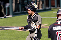 Vanderbilt Commodores catcher C.J. Rodriguez (5) walks back to his position against the South Carolina Gamecocks at Hawkins Field in Nashville, Tennessee, on March 21, 2021. The Gamecocks won 6-5. (Danny Parker/Four Seam Images)