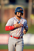 Florida Fire Frogs Jefrey Ramos (15) rounds the bases on a Brett Langhorne (not shown) home run during a Florida State League game against the St. Lucie Mets on April 12, 2019 at First Data Field in St. Lucie, Florida.  Florida defeated St. Lucie 10-7.  (Mike Janes/Four Seam Images)