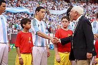Senator Frank Lautenberg of New Jersey shakes hands with Argentina midfielder Maximiliano Rodriguez (7). The men's national teams of the United States and Argentina played to a 0-0 tie during an international friendly at Giants Stadium in East Rutherford, NJ, on June 8, 2008.