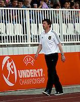 Head coach Steffen Freud of Germany looks on during the UEFA U-17 championships Semi Final match between Denmark and Germany on May 12, 2011 in Novi Sad, Serbia. (Photo by Srdjan Stevanovic/Starsportphoto.com)