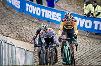 Wout van Aert (BEL/Jumbo-Visma) leading the race<br /> <br /> 2020 Superprestige in Boom (BEL) <br /> <br /> ©kramon