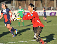 20131211 - HENIN-BEAUMONT , France :  Henin's Goalkeeper Celine Musin pictured during the female soccer match between FC Henin Beaumont and Paris Saint-Germain Feminin , of the Ninth matchday in the French First Female Division . Wednesday 11 December 2013. PHOTO DAVID CATRY
