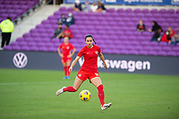 ORLANDO, FL - FEBRUARY 21: Evelyne Viens #9 of the CANWNT kicks the ball before a game between Argentina and Canada at Exploria Stadium on February 21, 2021 in Orlando, Florida.