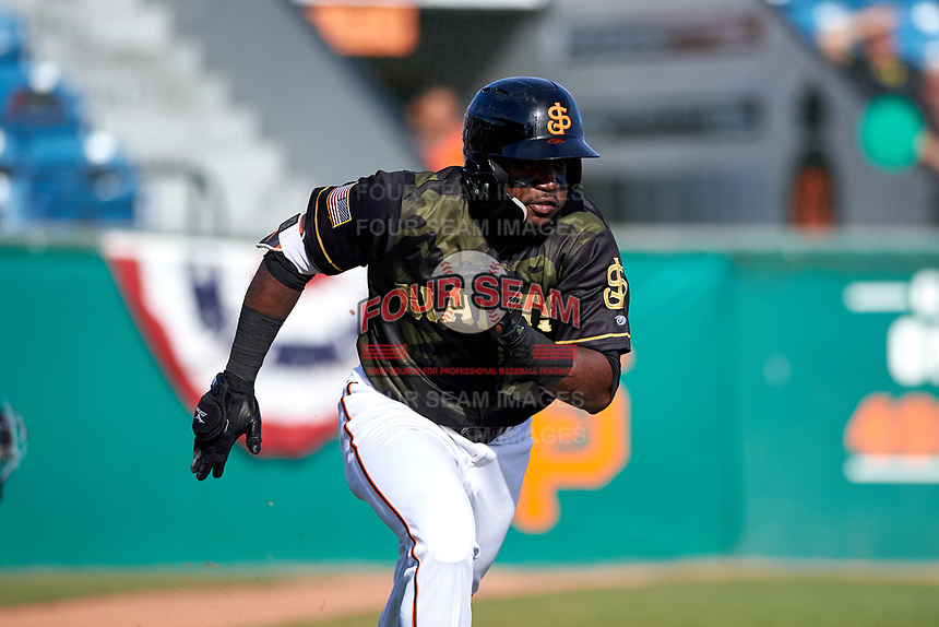 San Jose Giants left fielder Jean Angomas (46) during a California League game against the Visalia Rawhide on April 13, 2019 at San Jose Municipal Stadium in San Jose, California. Visalia defeated San Jose 4-2. (Zachary Lucy/Four Seam Images)