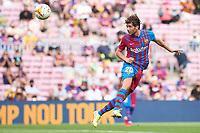 29th August 2021; Nou Camp, Barcelona, Spain; La Liga football league, FC Barcelona versus Getafe; Sergi Roberto of FC Barcelona flies his header towards goal