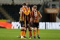 Hull City's James Scott celebrates scoring his side's third goal with Sean McLoughlin<br /> <br /> Photographer Alex Dodd/CameraSport<br /> <br /> EFL Papa John's Trophy - Northern Section - Group H - Hull City v Grimsby Town - Tuesday 17th November 2020 - KCOM Stadium - Kingston upon Hull<br />  <br /> World Copyright © 2020 CameraSport. All rights reserved. 43 Linden Ave. Countesthorpe. Leicester. England. LE8 5PG - Tel: +44 (0) 116 277 4147 - admin@camerasport.com - www.camerasport.com