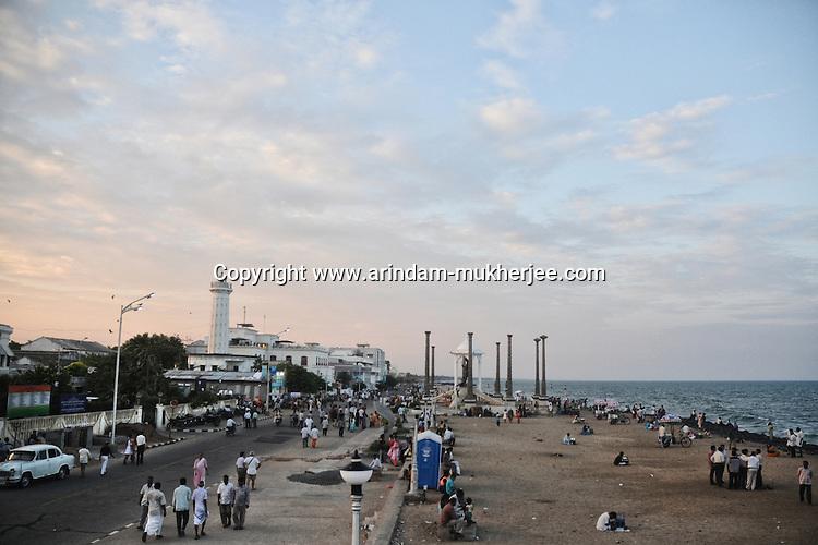 Overlooking Goubert Avenue and Pondicherry beach at late afternoon. Arindam Mukherjee