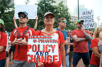 Henrietta Bernstein of Acton  MA at a Moms Demand Action for Gun Sense in America recess rally to urge Congress to vote on Senate Bill 42 to implement background checks and red flag laws, and call for an assault weapons ban at Boston City Hall Plaza Boston MA 8.18.19