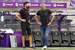 FC Barcelona's coach Quique Setien (r) with his second Eder Sarabia during La Liga match. July 11,2020. (ALTERPHOTOS/Acero)