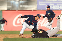 Chan-Jong Moon (3) of the Lancaster JetHawks tags out Ashley Graeter (6) of the Modesto Nuts at second base during a game at The Hanger on April 25, 2015 in Lancaster, California. Lancaster defeated Modesto, 5-4. (Larry Goren/Four Seam Images)