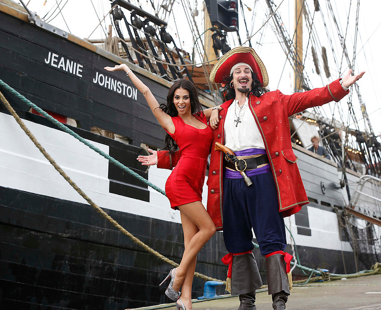 Buccaneer Captain Morgan pictured with Georgia Salpa making final preparations for his Christmas lights ceremony on board the Jeanie Johnston ship on Dublin.Pic: Robbie Reynolds/Corporate PR Photography..
