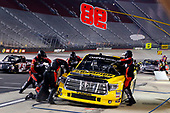 NASCAR Camping World Truck Series<br /> UNOH 200<br /> Bristol Motor Speedway, Bristol, TN USA<br /> Wednesday 16 August 2017<br /> Grant Enfinger, Champion Power Equipment\ Curb Records Toyota Tundra pit stop<br /> World Copyright: Russell LaBounty<br /> LAT Images
