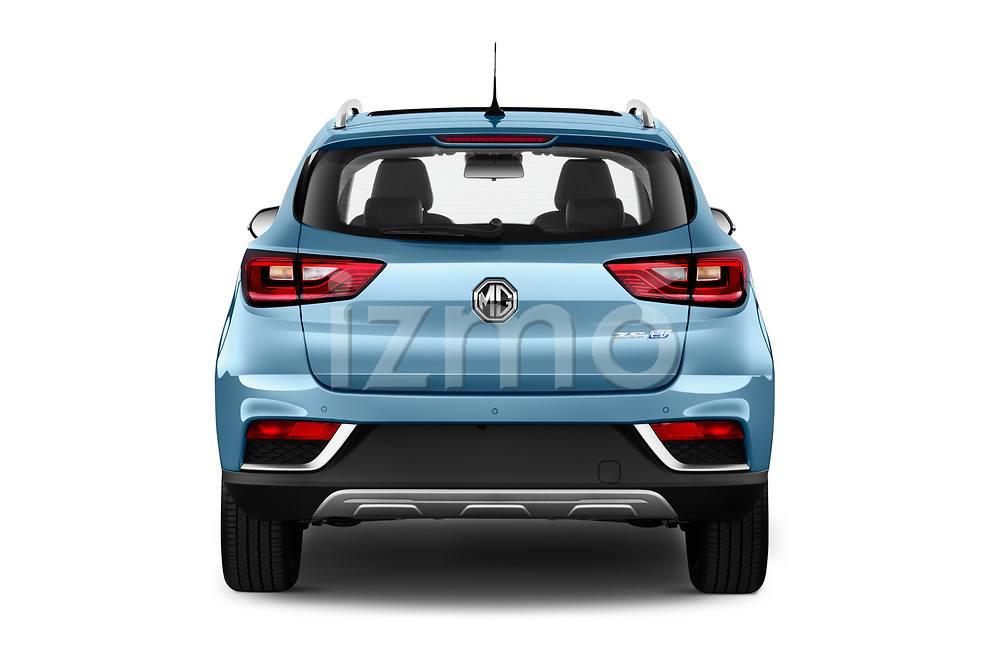 Straight rear view of 2020 Mg MG-ZS-EV Luxury 5 Door SUV Rear View  stock images