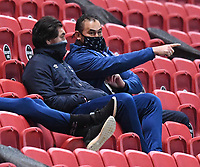 5th February 2021; Ashton Gate Stadium, Bristol, England; Premiership Rugby Union, Bristol Bears versus Sale Sharks; Pat Lam Director of Rugby for Bristol Bears and the injured Stephen Luatua watch the match