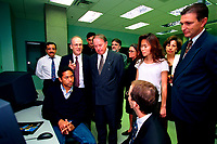1999 File photo of Quebec's  new Premier, the Honorable Bernard Landry (4th from left, looking down at the computer) at the inauguration of CAMAQ program in Montreal, Sept 30, 1999.<br /> Acclaimed with no opposition  as PQ leader on march 2,2001, he will be officially assermented this Thursday , March 8, 2001 as Quebec Premier.<br /> Landry 63, was the only candidate to replace Lucien Bouchard who resigned for personnal reasons. <br /> Photo by Pierre Roussel / Liaison<br /> <br /> NOTE : scans from photo CD