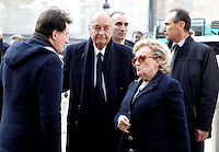 JACQUES CHIRAC ET BERNADETTE CHIRAC - OBSEQUES DE MAURICE ULRICH, EN L'EGLISE SAINT ETIENNE DU MONT.