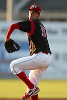 Batavia Muckdogs relief pitcher Kevin Jacob #31 delivers a pitch during a game against the Auburn Doubledays at Dwyer Stadium on July 17, 2011 in Batavia, New York.  Batavia defeated Auburn 8-3.  (Mike Janes/Four Seam Images)