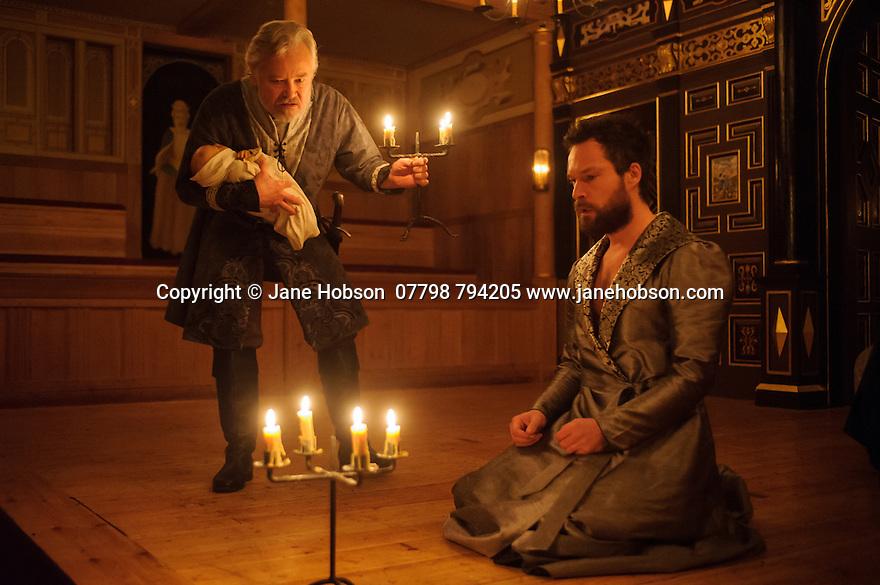 London, UK. 03.02.2016. Shakespeare's Globe presents THE WINTER'S TALE, by William Shakespeare, in the Sam Wanamaker Playhouse. Picture shows: David Yelland (Antigonus) and John Light (Leontes). Photograph © Jane Hobson.