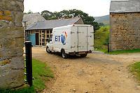 Electricity. BT van on a farm. Dinkling Green.