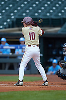 Michael Strem (10) of the Boston College Eagles at bat against the North Carolina Tar Heels in Game Five of the 2017 ACC Baseball Championship at Louisville Slugger Field on May 25, 2017 in Louisville, Kentucky. The Tar Heels defeated the Eagles 10-0 in a game called after 7 innings by the Mercy Rule. (Brian Westerholt/Four Seam Images)